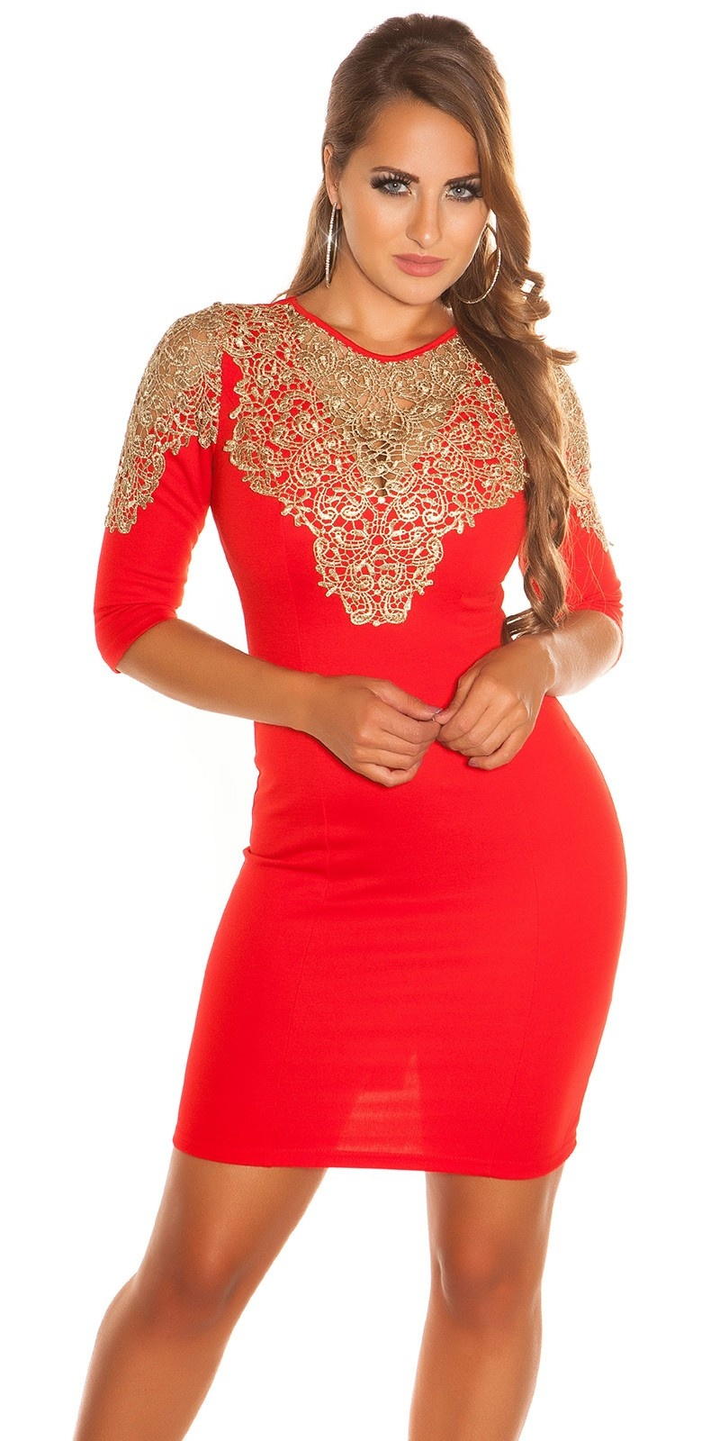 Sexy KouCla dress with Golden lace Red