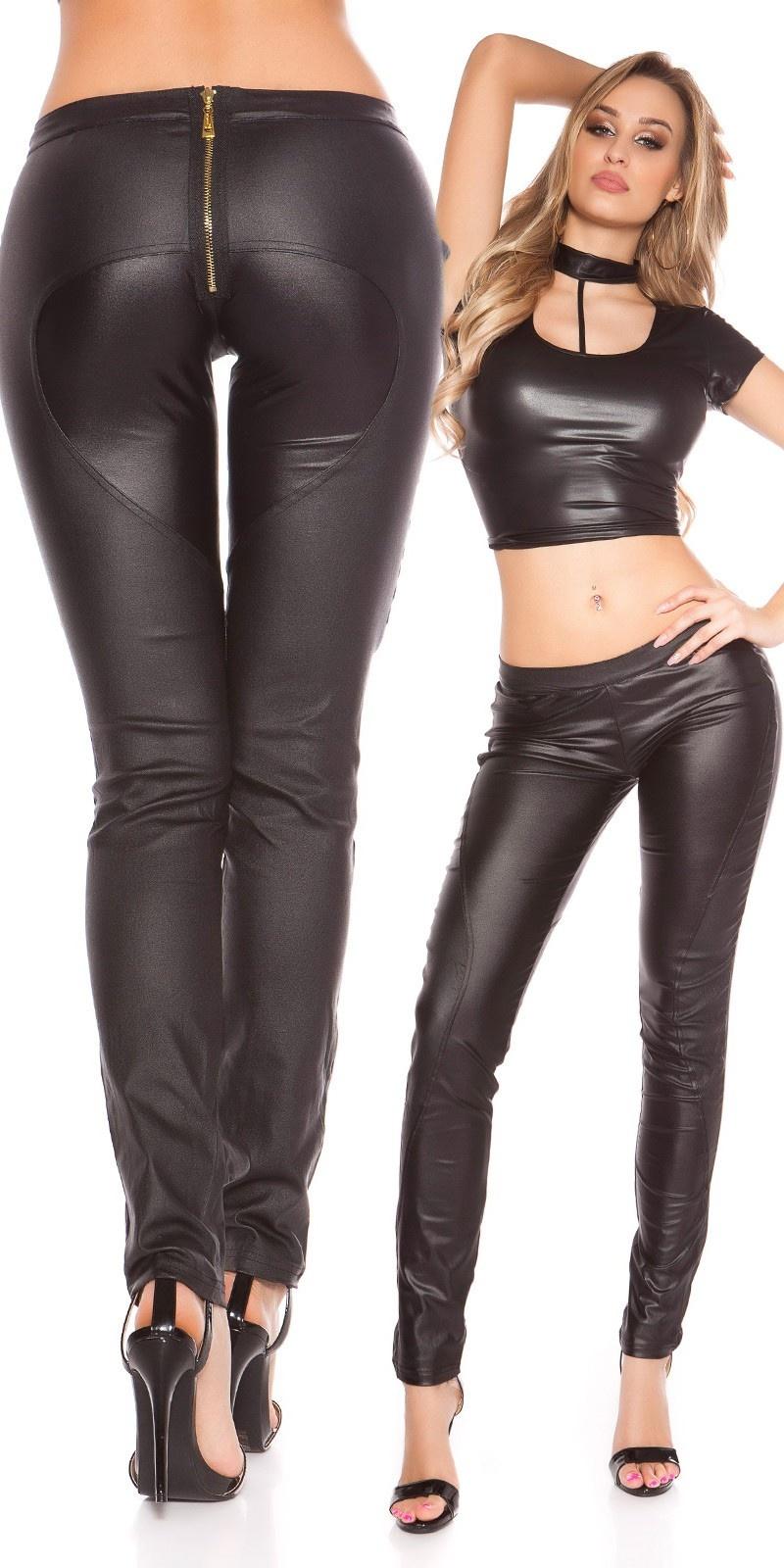 Sexy KouCla Skinny Letherlook Pants with Zipp Black