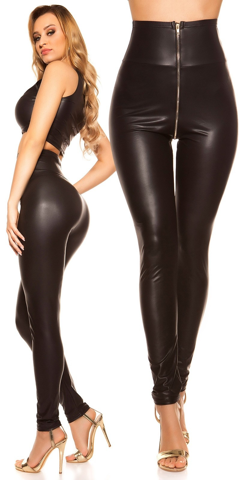Sexy hoge taille wetlook leggings zwart