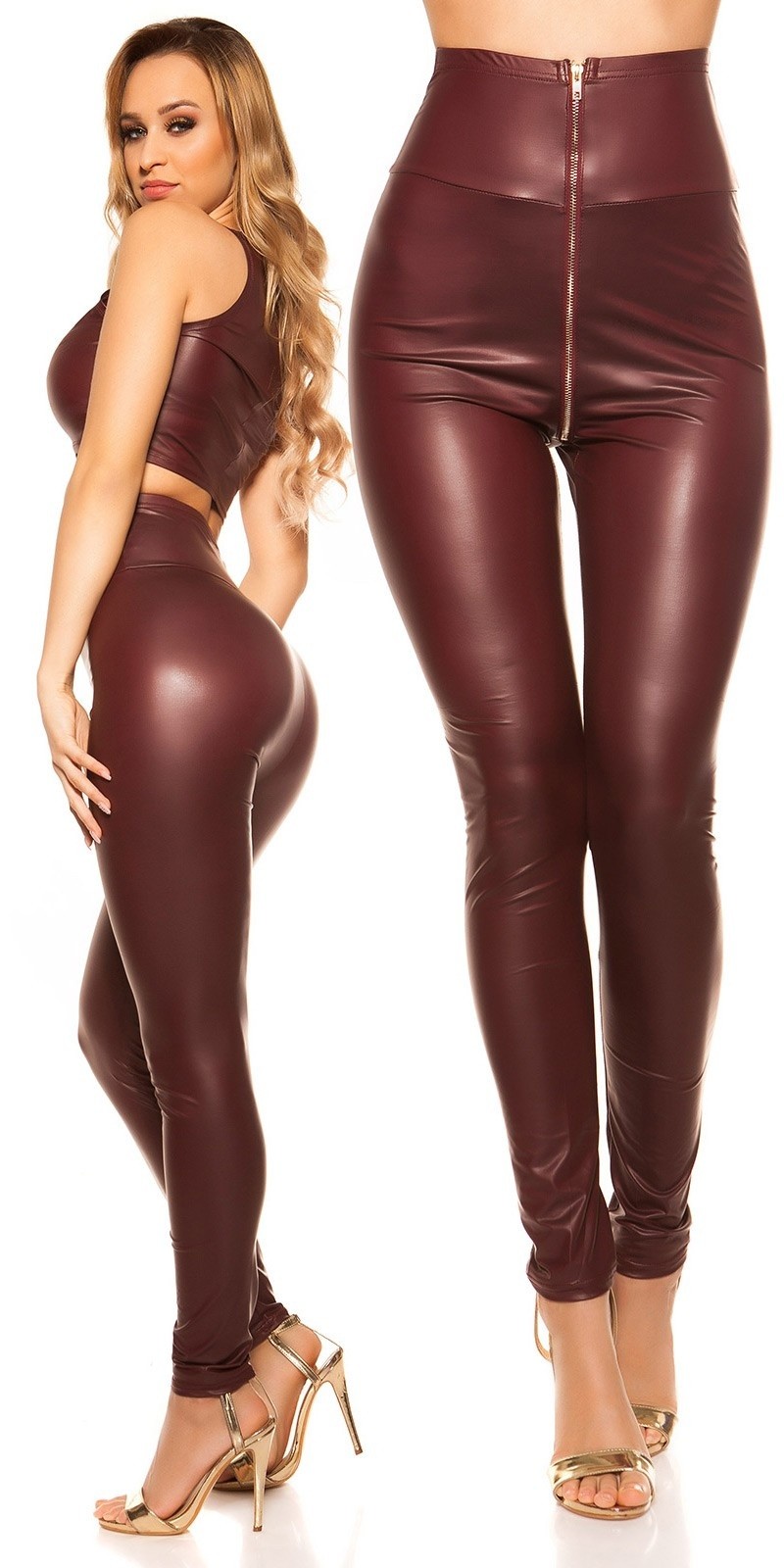 Sexy KouCla High Waist Wetlook Leggings Bordeaux