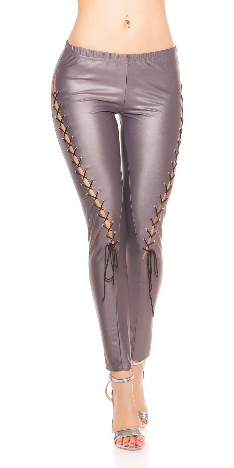 Sexy leggings met veter grijs