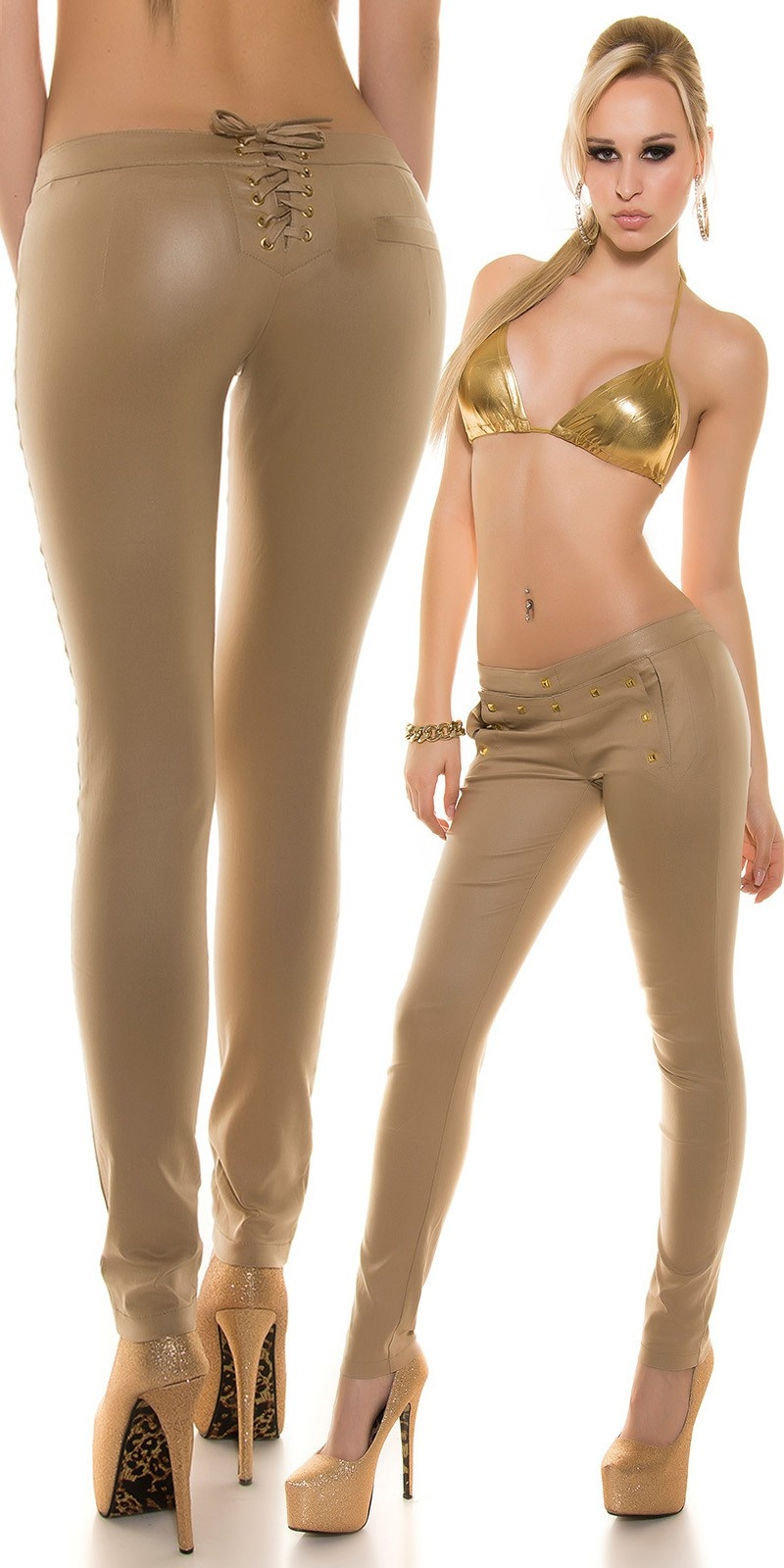 Pants with studs and lacing Champagne