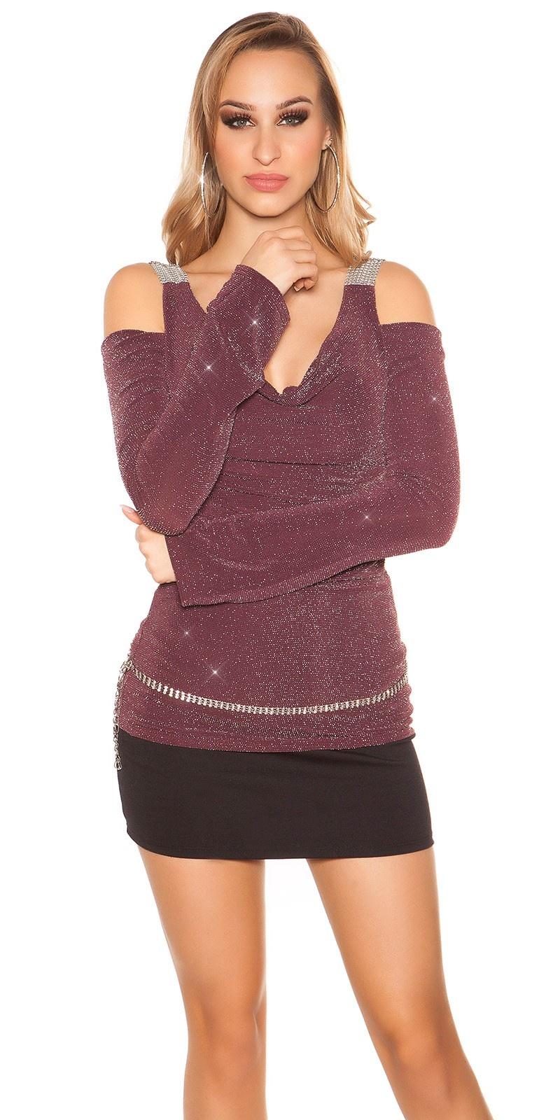 Sexy KouCla Partyshirt shoulder free Violet