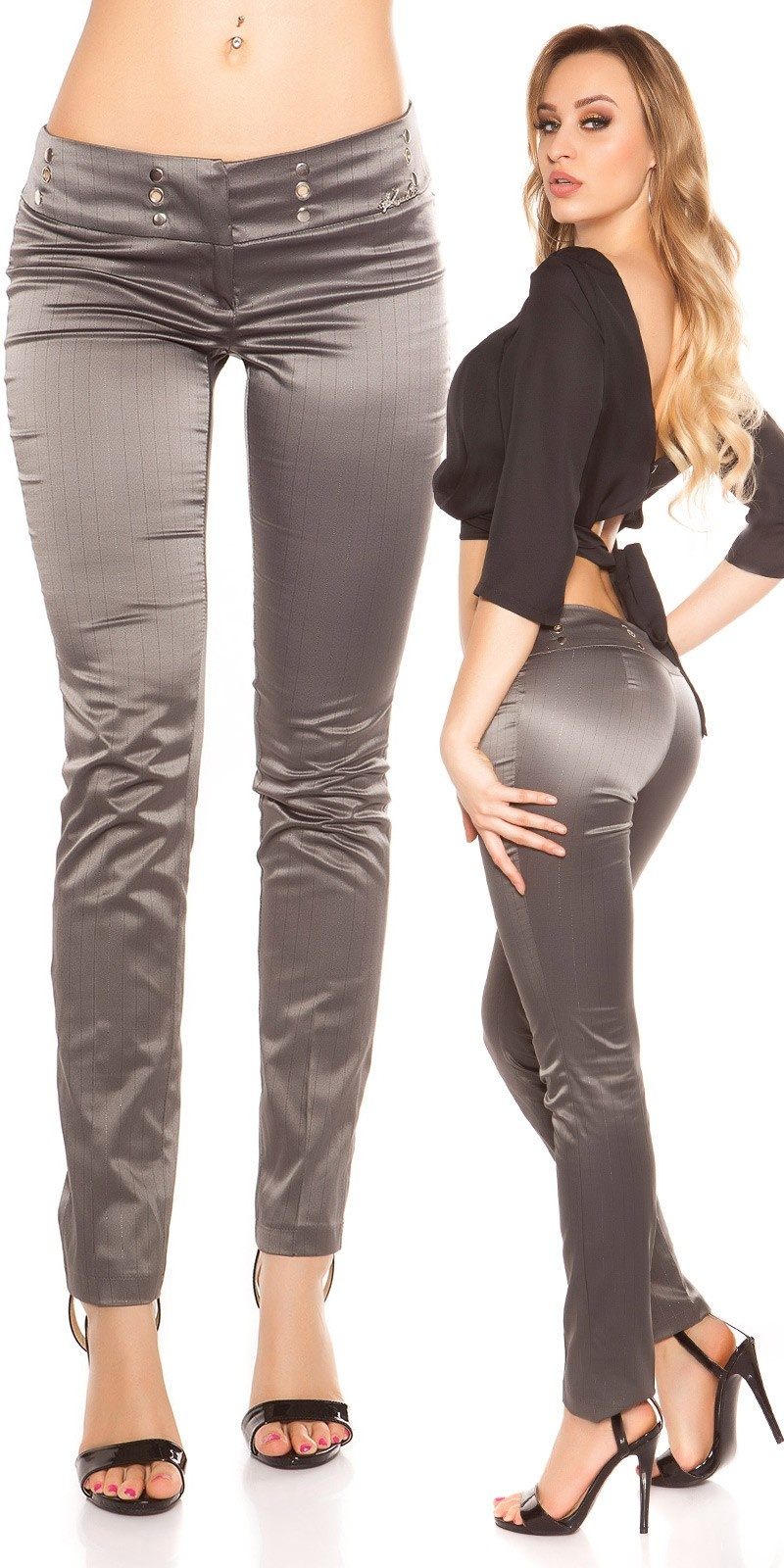 Sexy KouCla Business-trousers with pinstripes Anthracite
