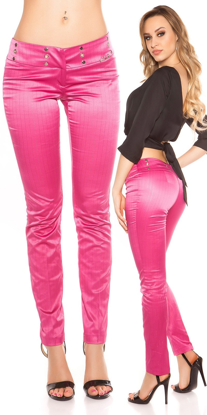 Sexy KouCla Business-trousers with pinstripes Fuchsia