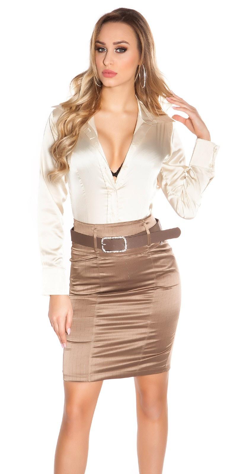 Sexy KouCla Pencilskirt with waistbelt Cappuccino