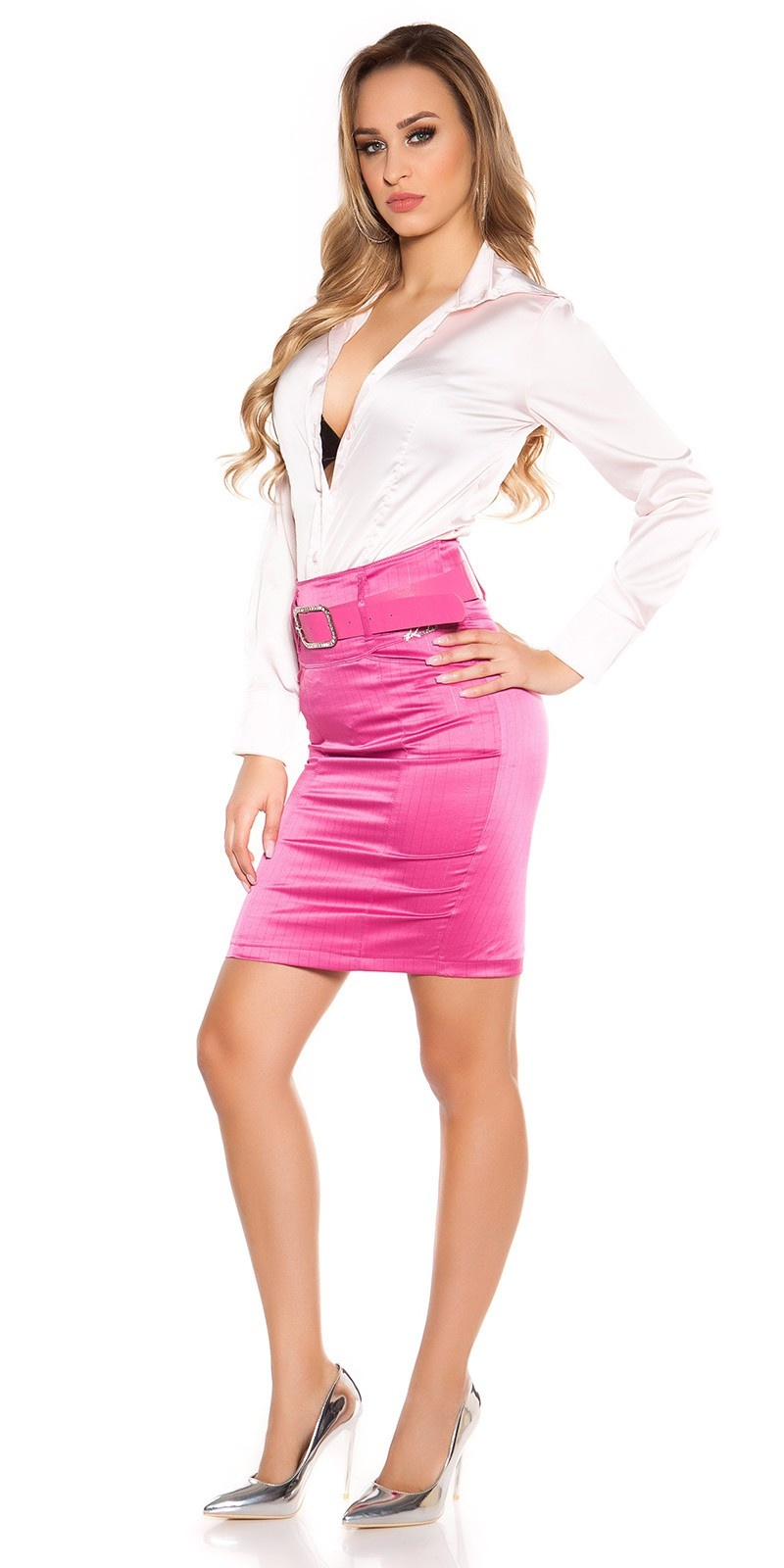Sexy KouCla Pencilskirt with waistbelt Fuchsia