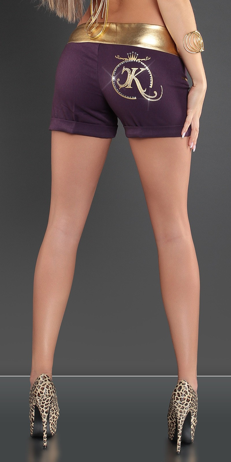 Sexy shorts met gouden tailleband paars