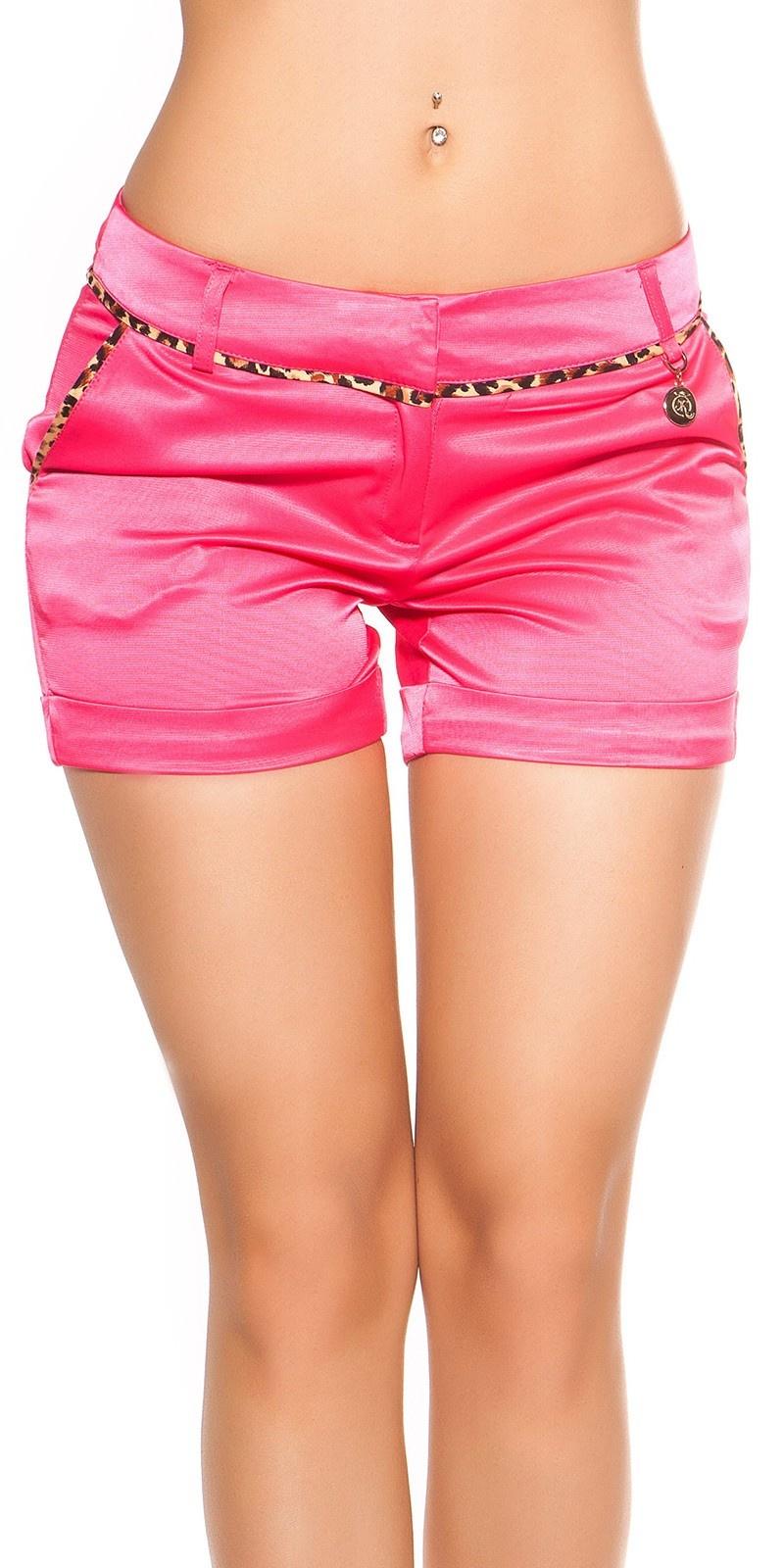 Sexy shorts met luipaard-naad fuchsiaroze
