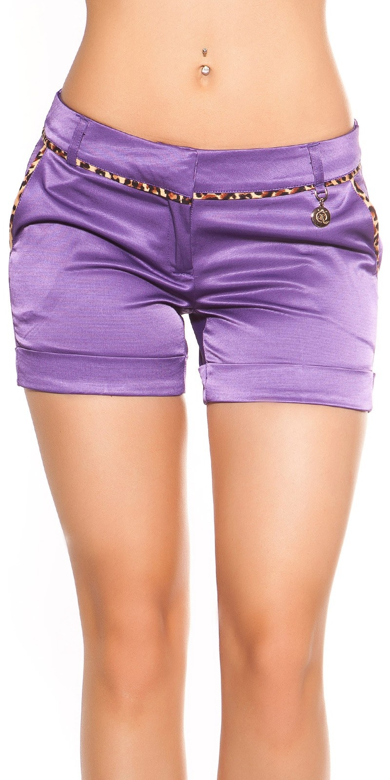 Sexy shorts met luipaard-bies paars