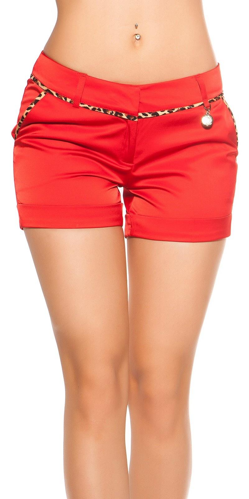Sexy shorts met luipaard-naad rood