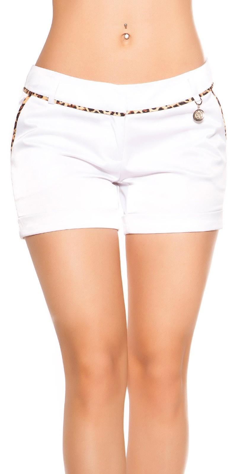 Sexy shorts met luipaard-bies wit