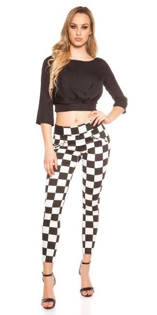 Trendy skinnytrousers in square-pattern Blackwhite