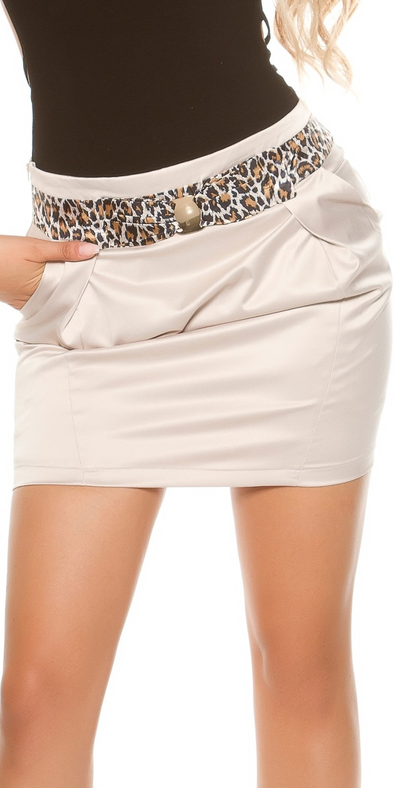 Sexy miniskirt in businesslook with stiched belt Beige
