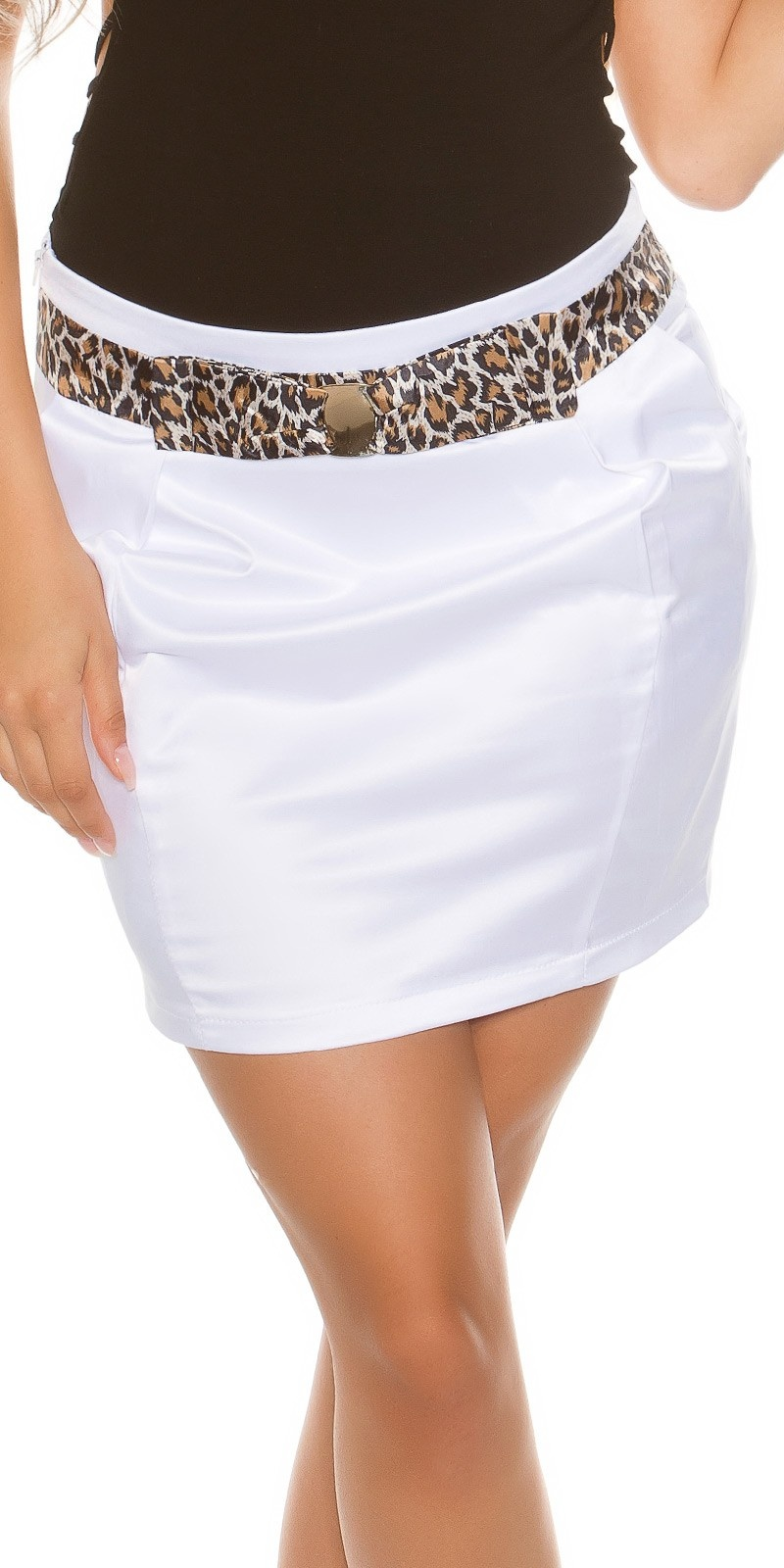 Sexy miniskirt in businesslook with stiched belt White
