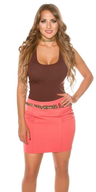 e937cf1272df Sexy mini skirt with Leo belt Coral - ai0000ISF-SK169-N-3 van ...