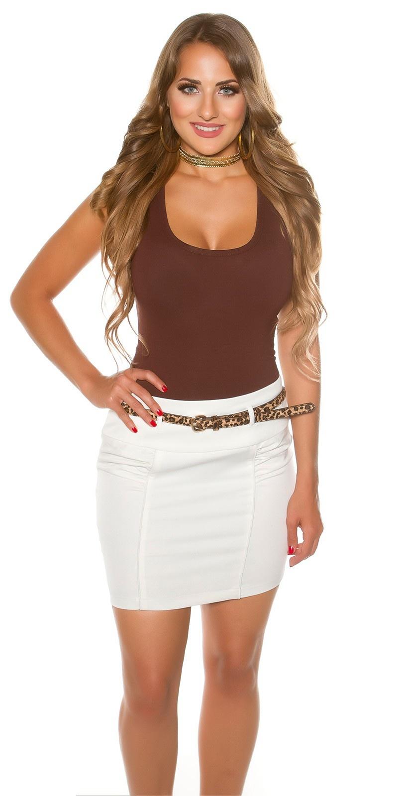 Sexy mini skirt with Leo belt White