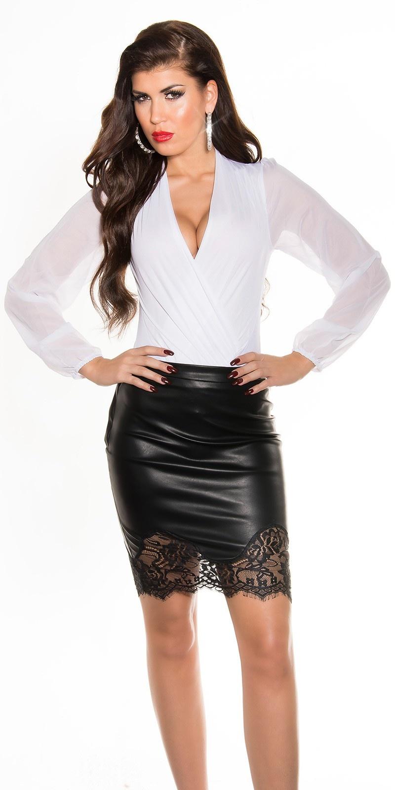 Sexy lederlook-rok met kant zwart