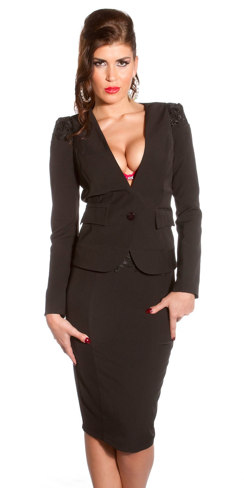 Sexy KouCla blazer fitted with embroidery Black