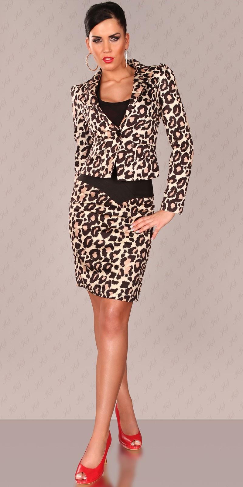 Sexy blazer met puff mouwen luipaard