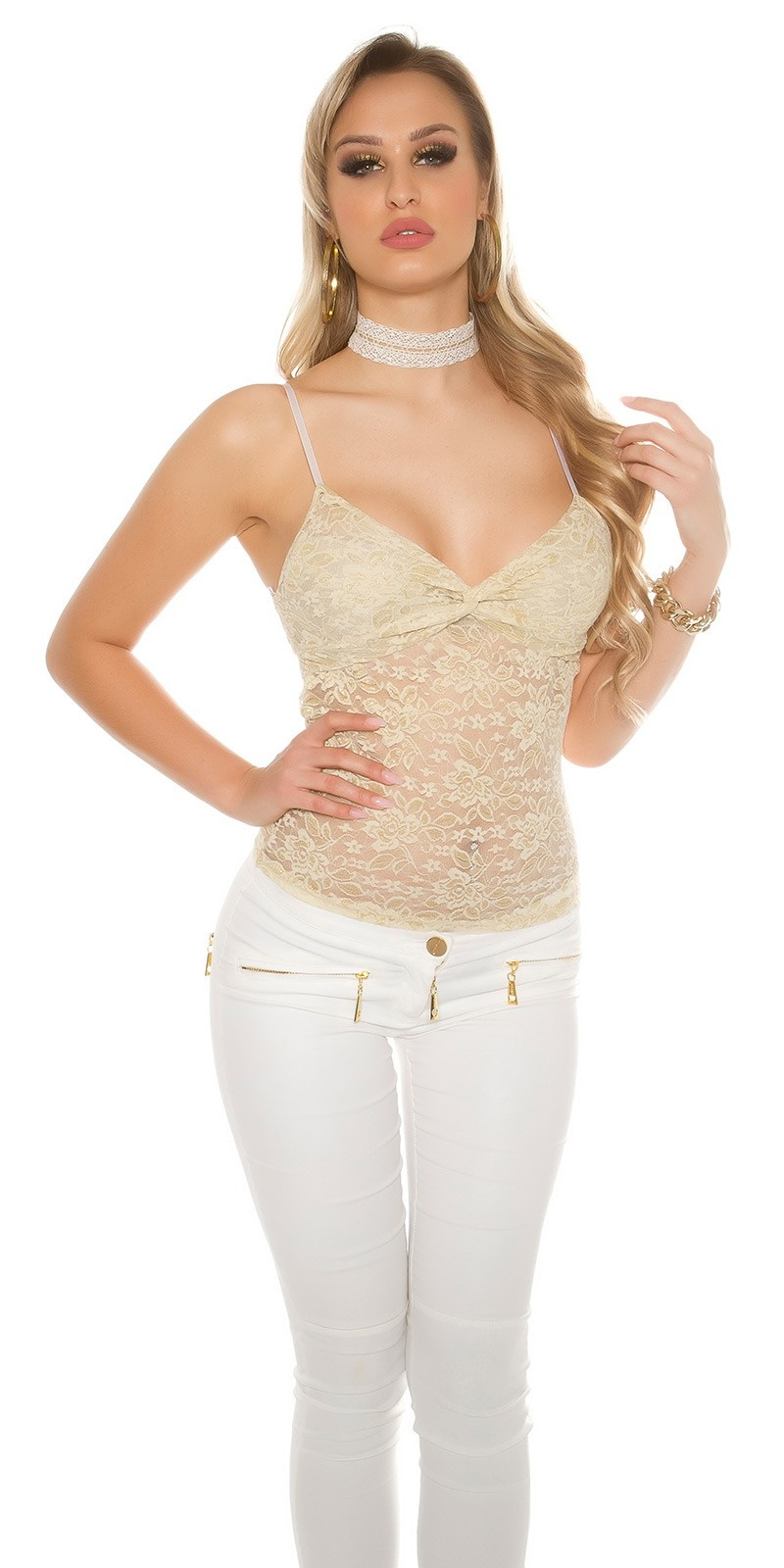 Sexy lace top with flowers + gold Beige