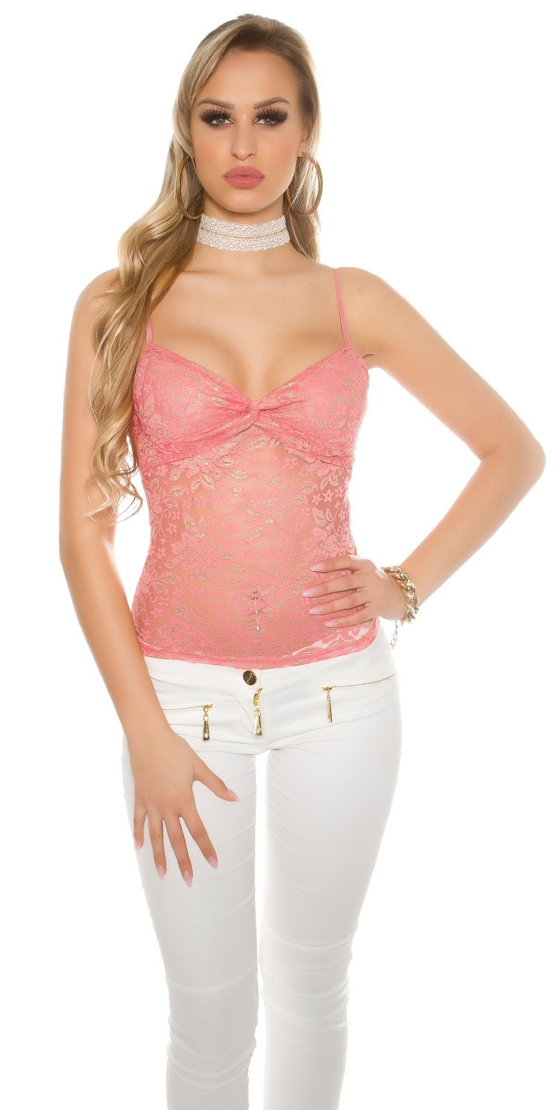 Sexy lace top with flowers + gold Coral