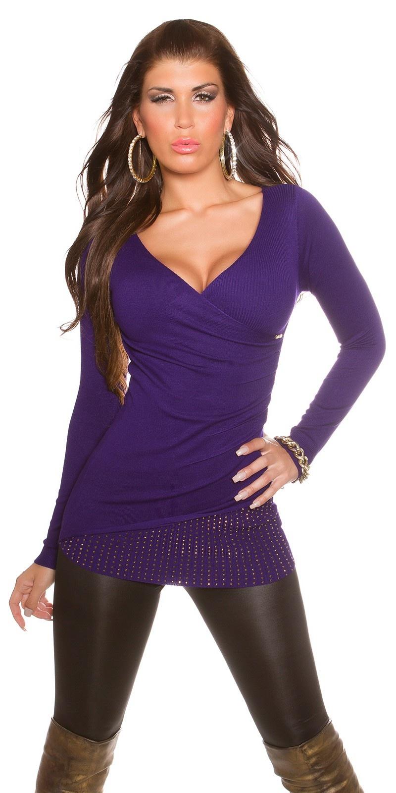 Sexy KouCla Sweater in wrap-look Purple