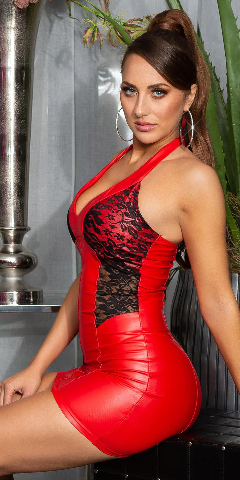 Sexy halter-mini jurkje met kant rood