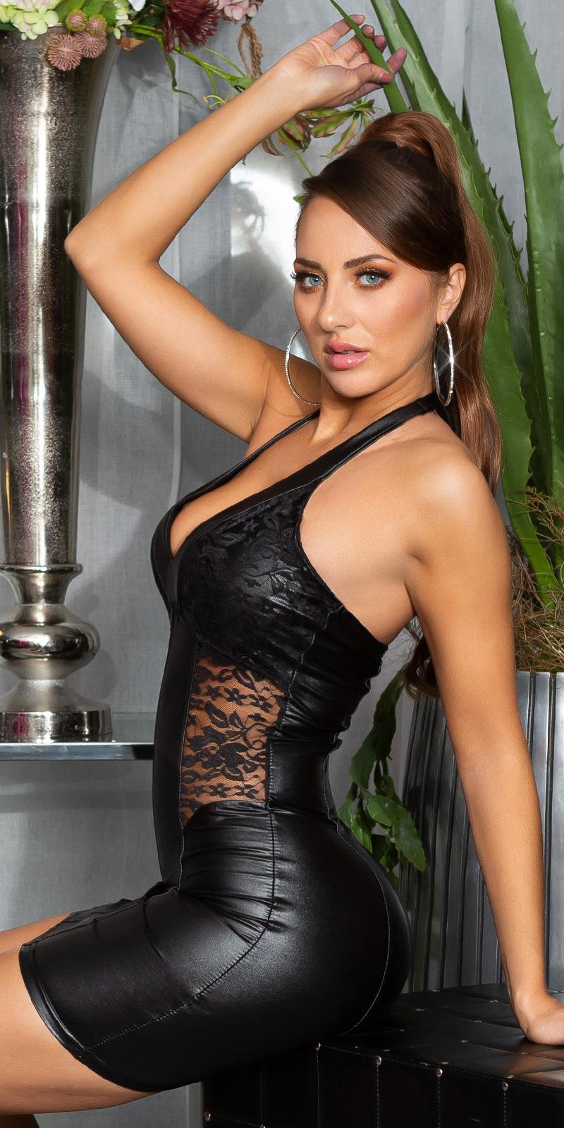 Sexy halter-mini jurkje met kant zwart
