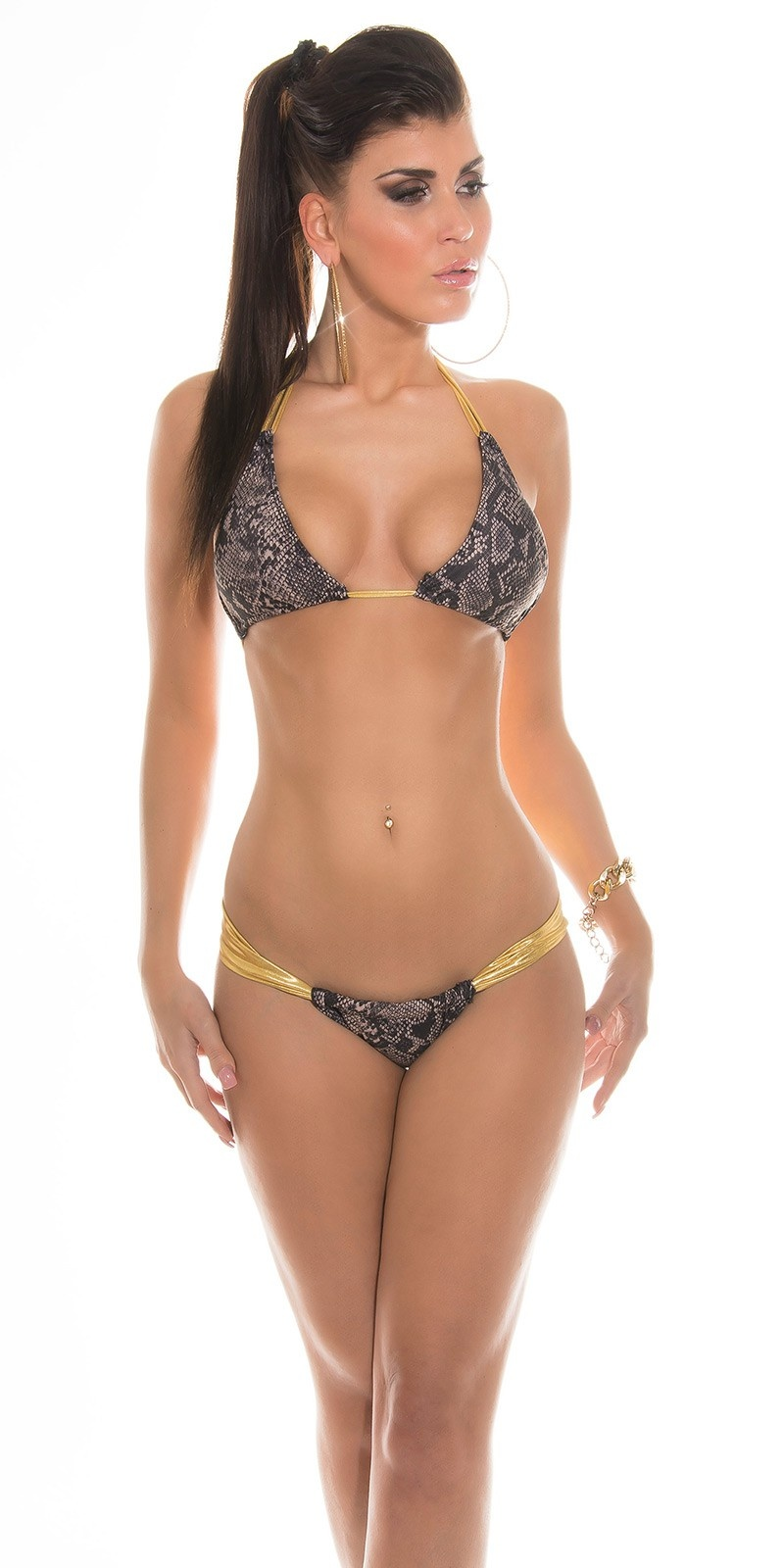 Sexy triangel-bikini in mel b. look slangen-print
