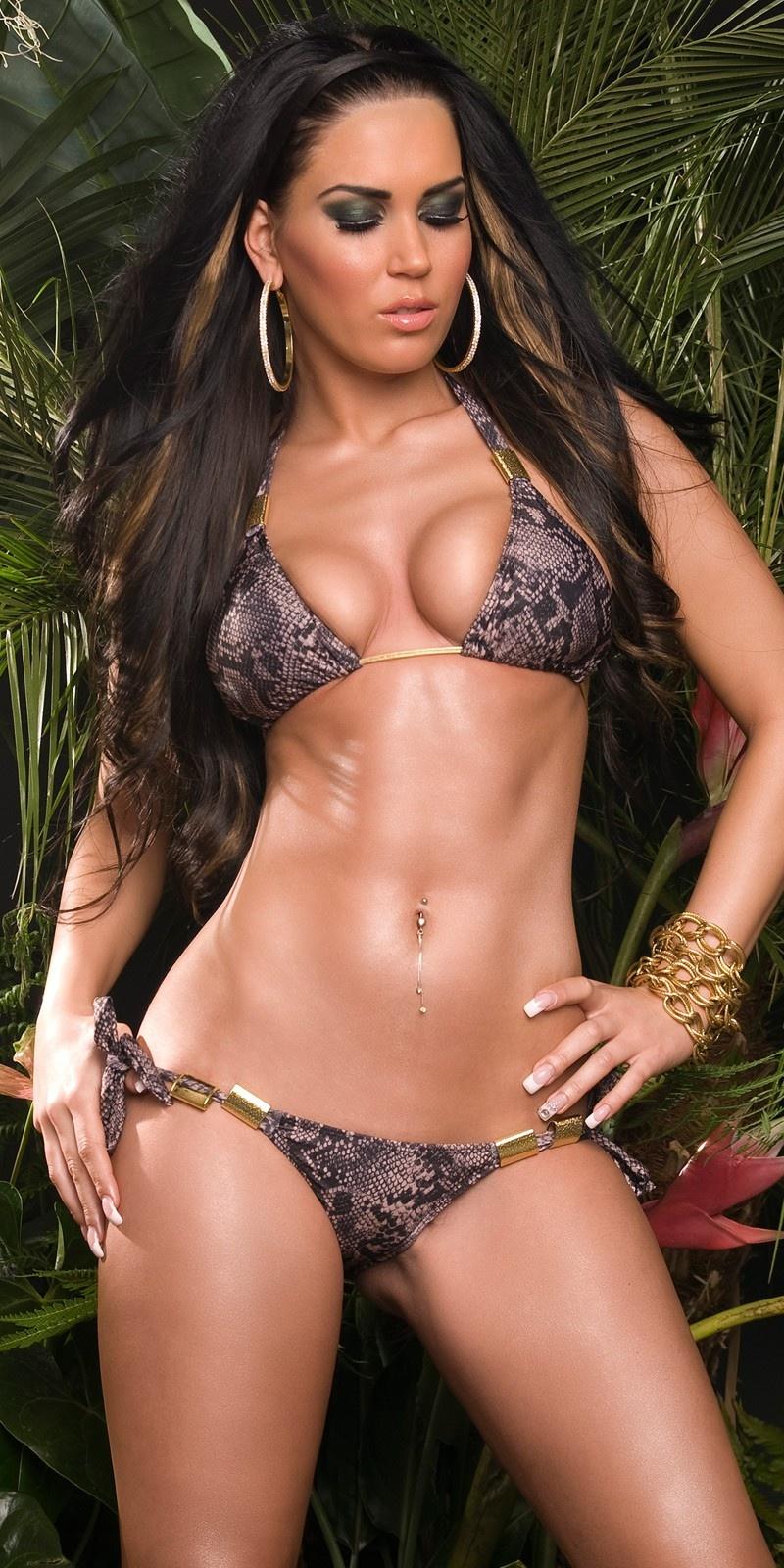 Sexy triangel-bikini met gespen slangen-print