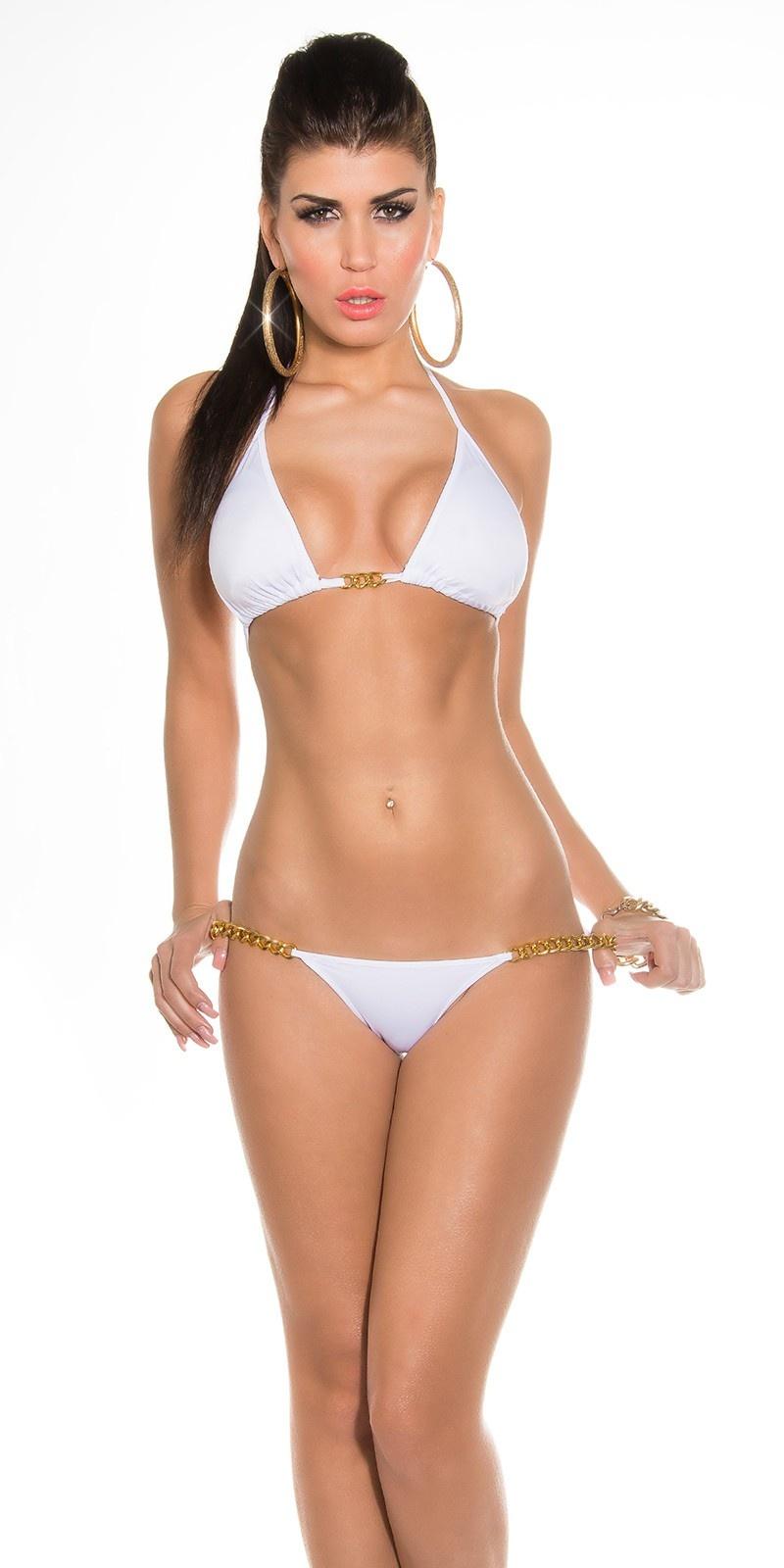 Sexy bikini met kettingen wit