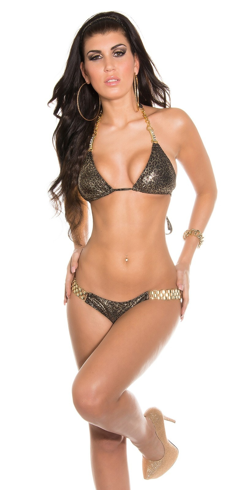 Sexy triangle bikini with chain a. rhinest. Leo