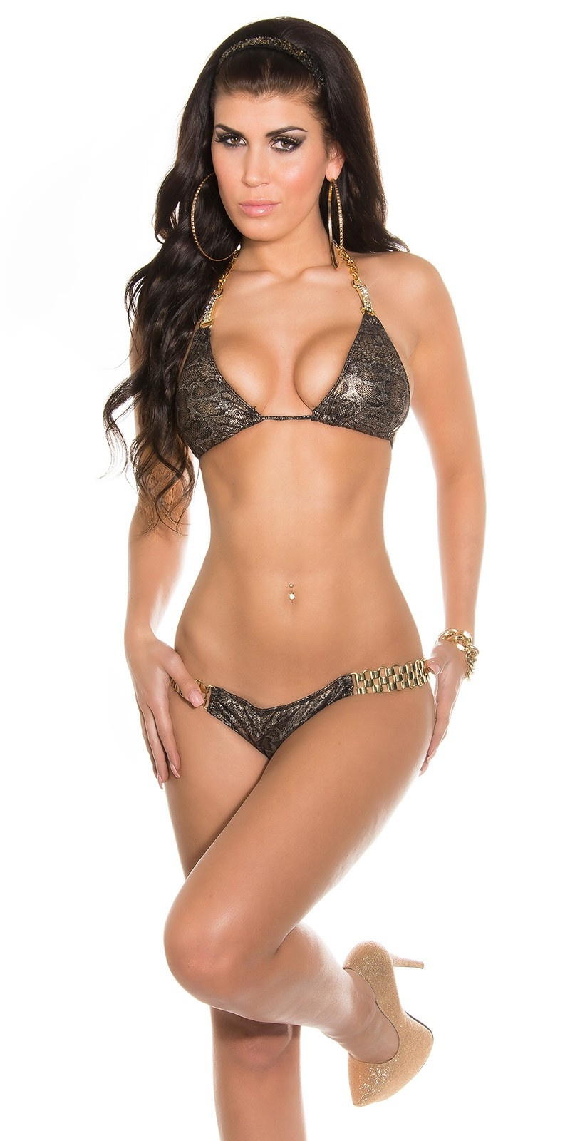 Sexy triangle bikini with chain a. rhinest. Snake
