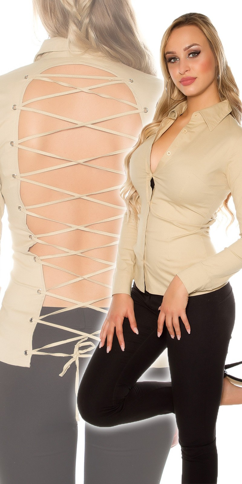Sexy Blouse to tie, backfree Beige