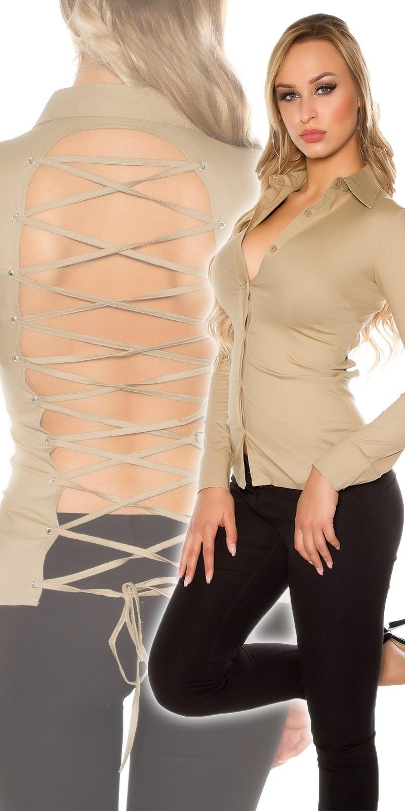 Sexy blouse om vast te binden, met open rug cappuccino