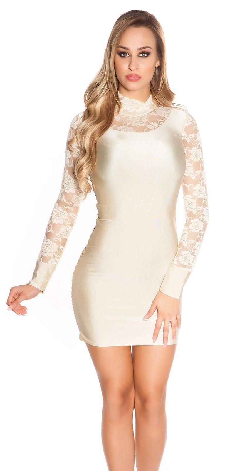 Sexy mini jurkje met kant beige