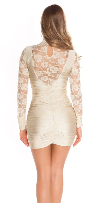 Sexy Minidress with lace, gathered Beige