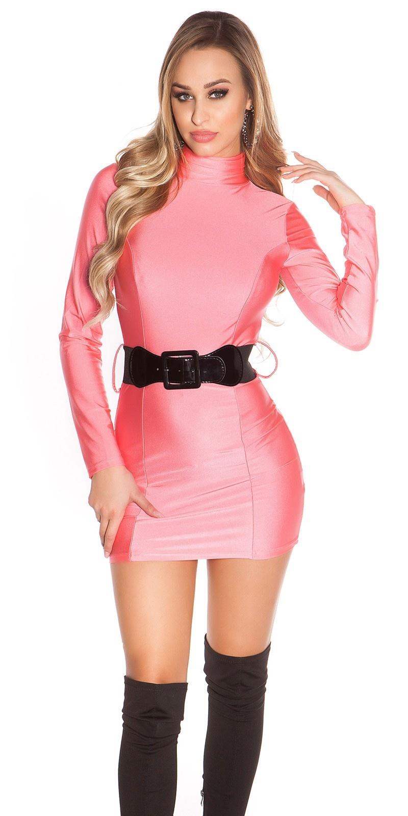 Sexy Minidress backfree with belt Neonfuchsia