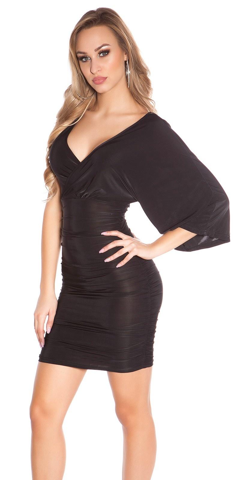 Sexy mini jurkje in wikkel-look zwart
