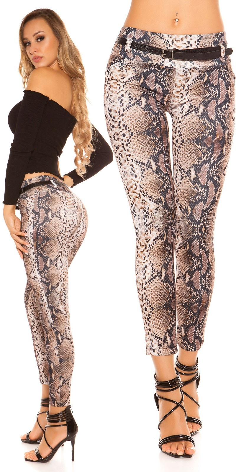 Sexy KouCla Treggings in animal print with belt Snake
