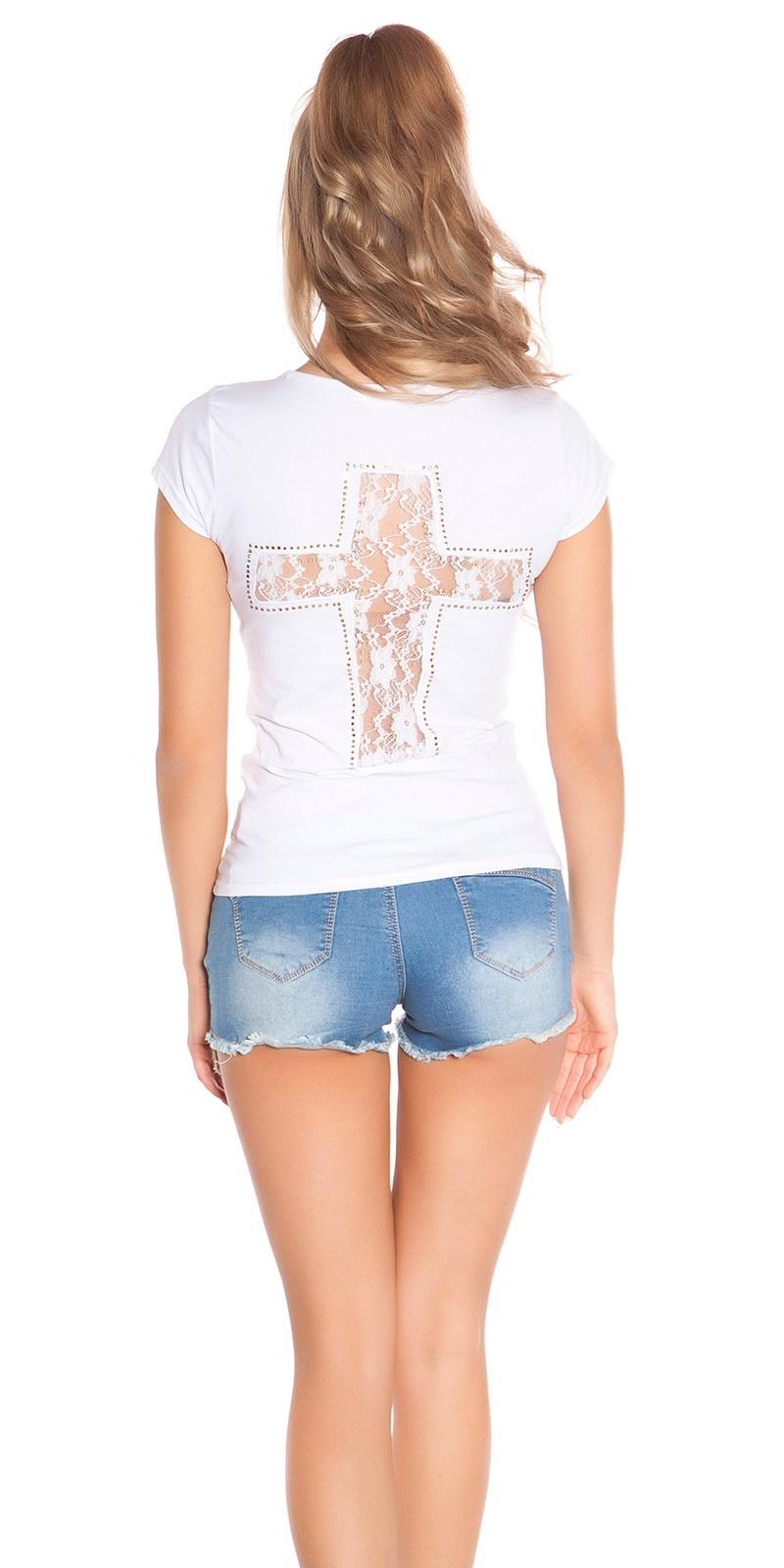 Trendy shirt met kruis-print en kant wit