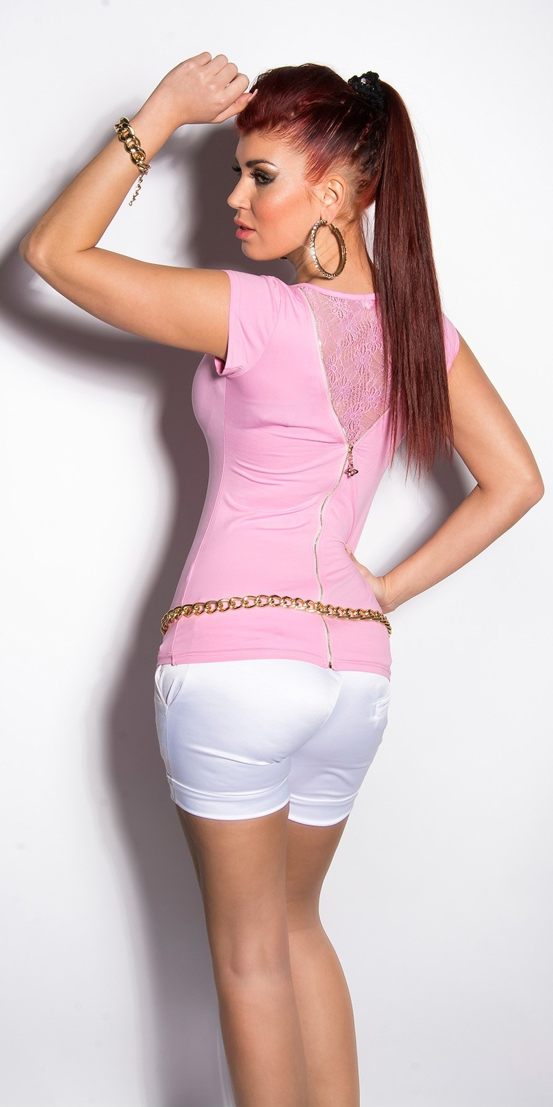 Sexy t-shirt met kant en ritssluiting roze