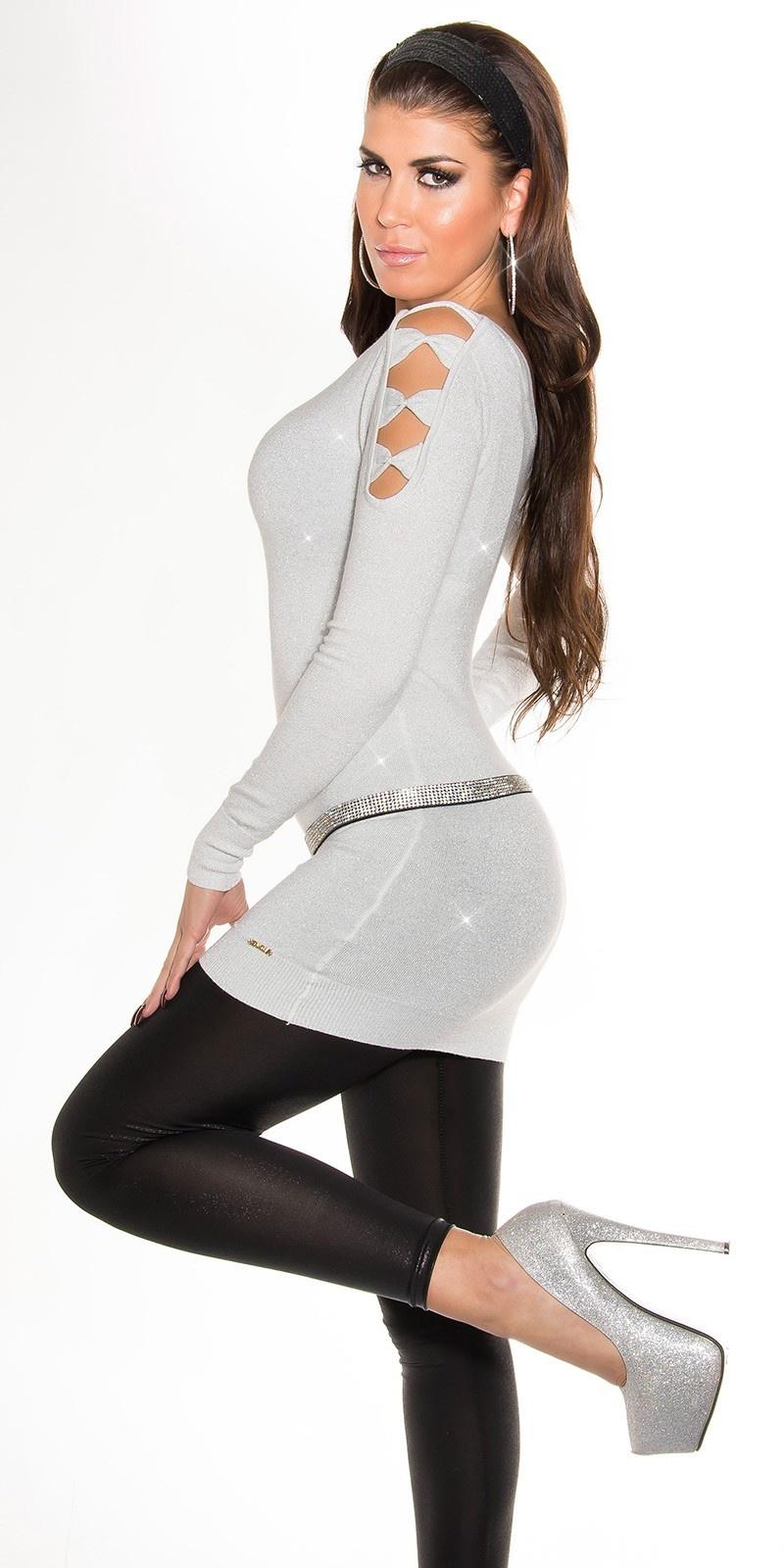 Sexy lange sweater-trui open op de mouwen wit