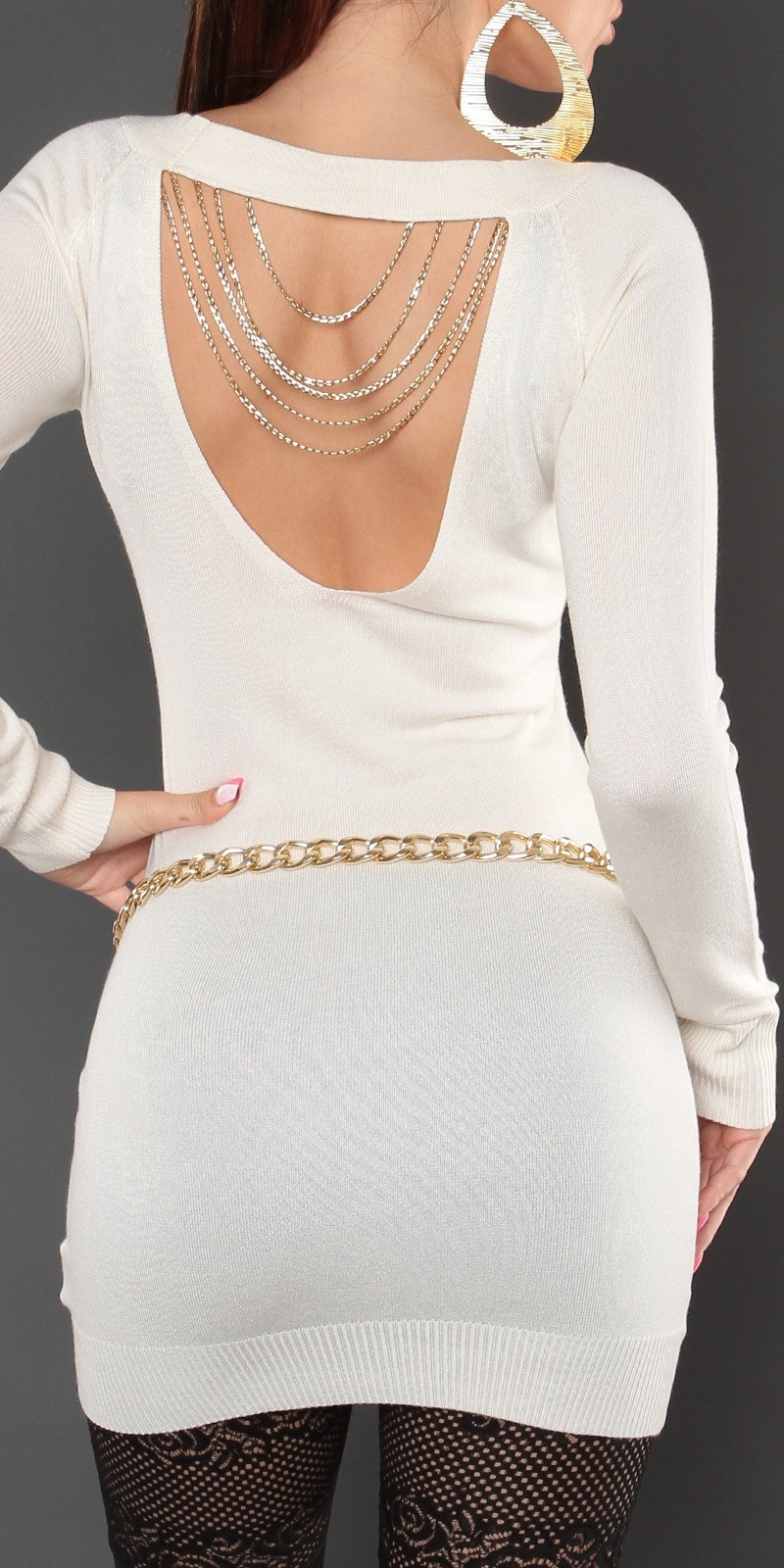 Sexy KouCla sweater with studs and chains White