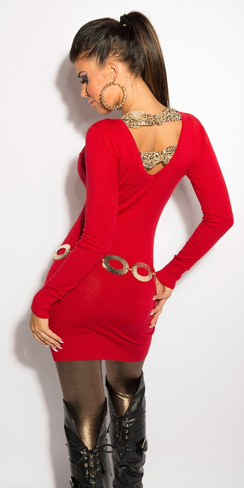 Sexy KouCla longsweater with rhinestones Red