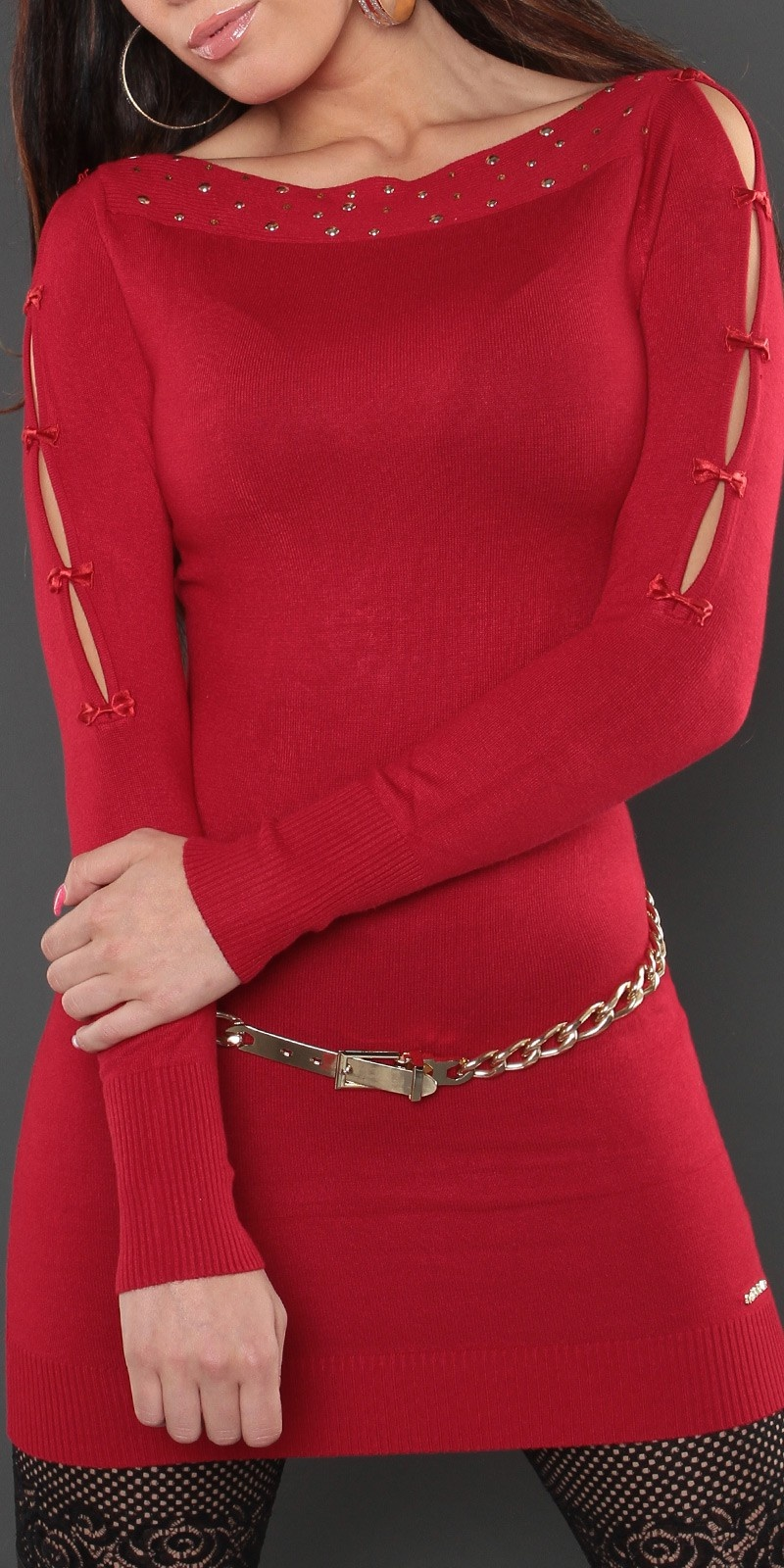 Sexy lange sweater-trui met strikjes rood