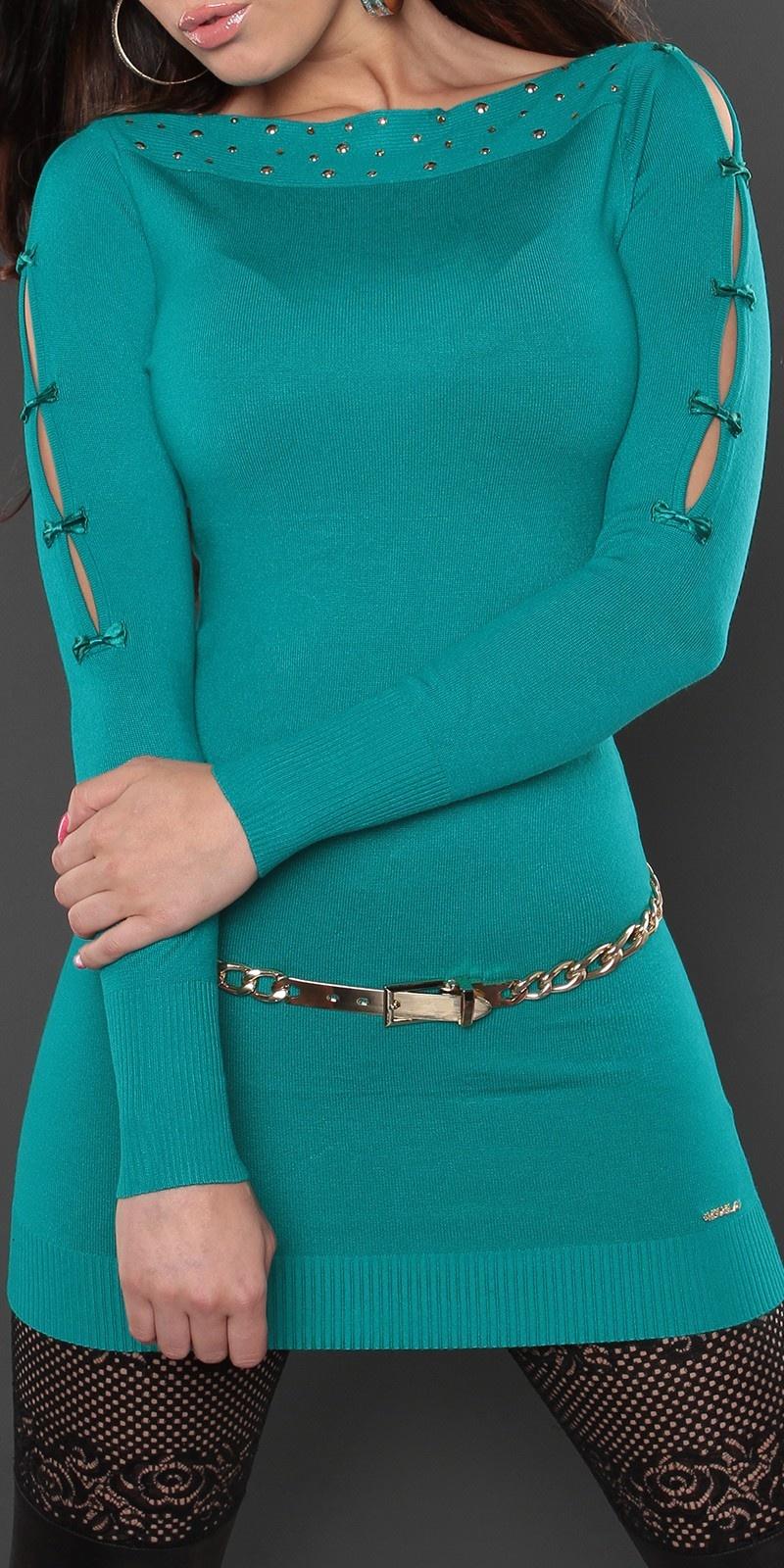 Sexy lange sweater-trui met strikjes saffierblauw