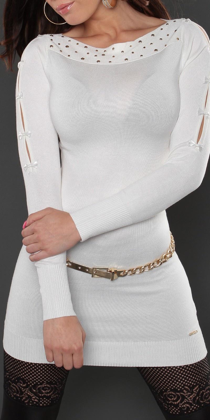 Sexy lange sweater-trui met strikjes wit