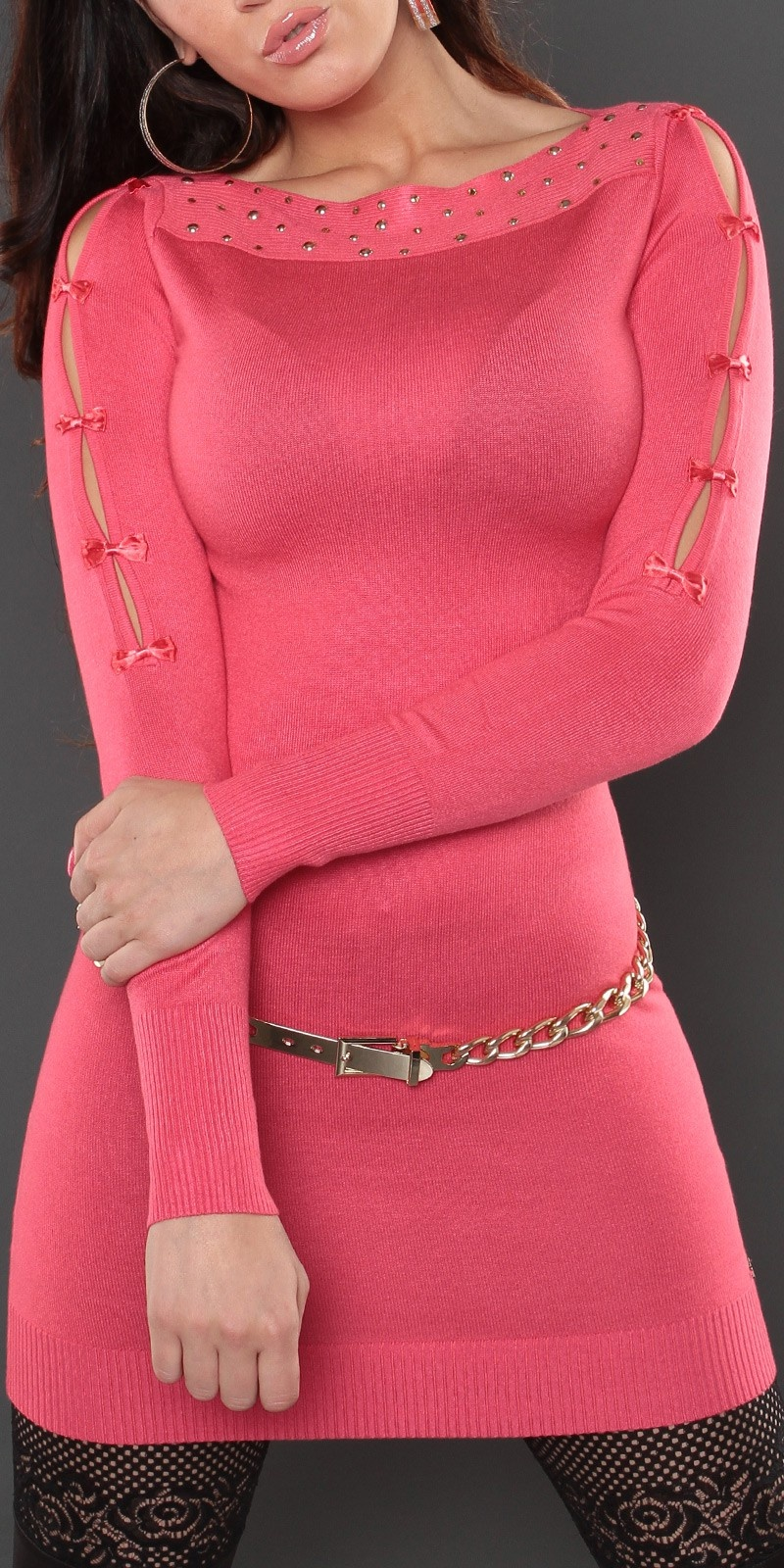 Sexy lange sweater-trui met strikjes koraal-kleurig